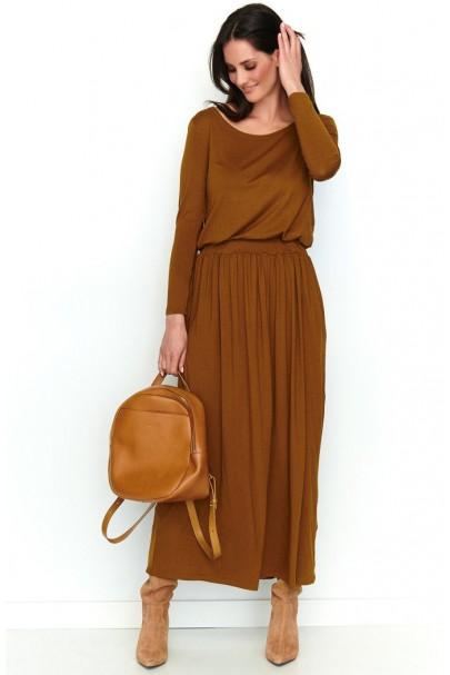 Maxi sukienka camelowa NU199