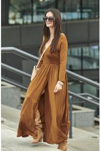 Sukienka camelowa z rozcięciem NU200
