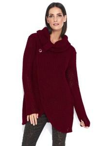 Sweter bordowy z golfem NU_S43