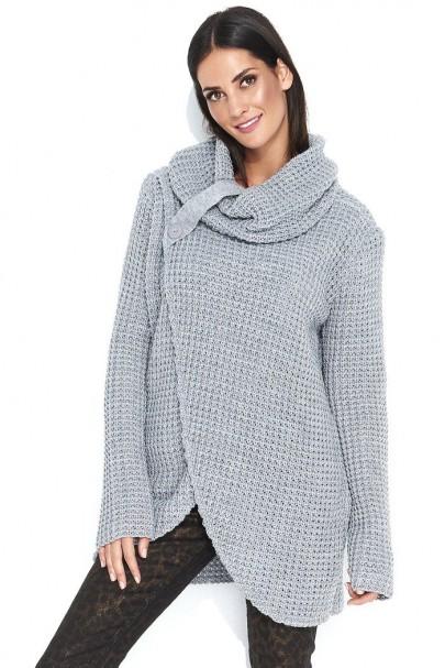 Sweter szary z golfem NU_S43