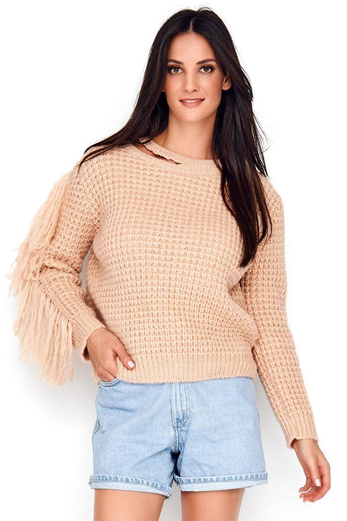 Sweter pudrowy róż z frędzlami NU_S63