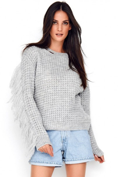 Sweter szary z frędzlami...
