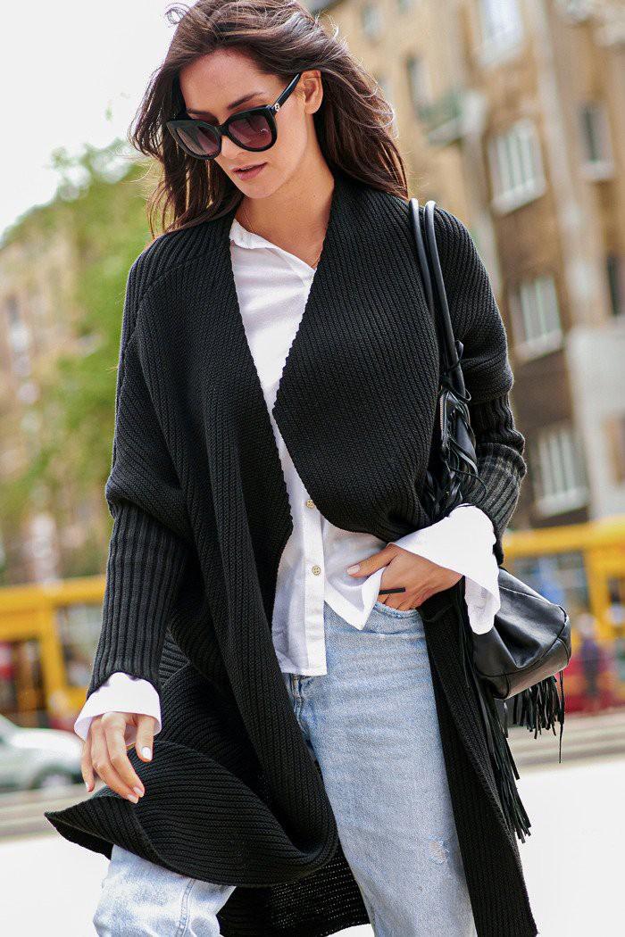Sweter kardigan czarny NU_S64