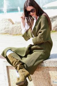 Sweter kardigan khaki NU_S64
