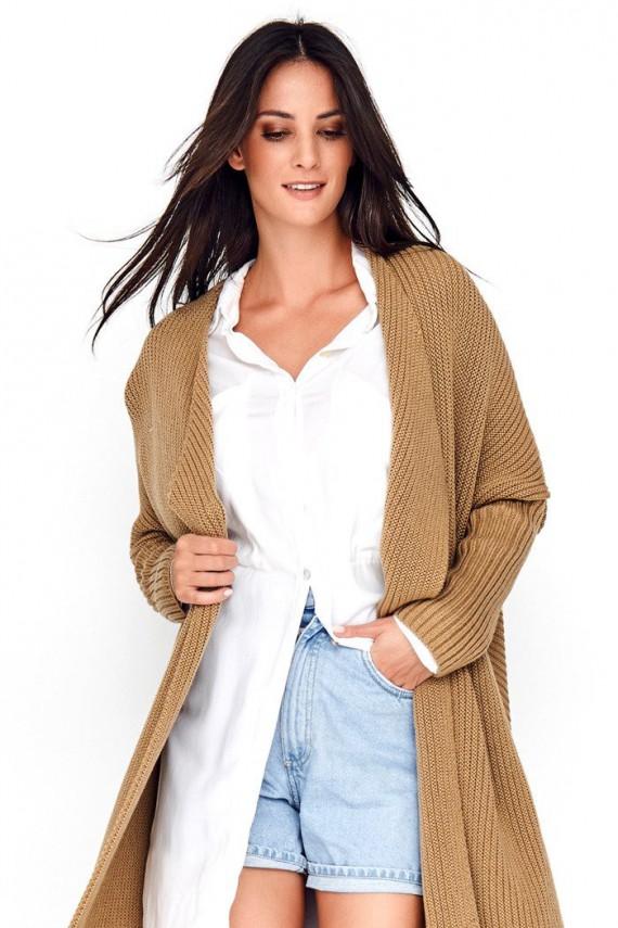 Sweter kardigan orzechowy...