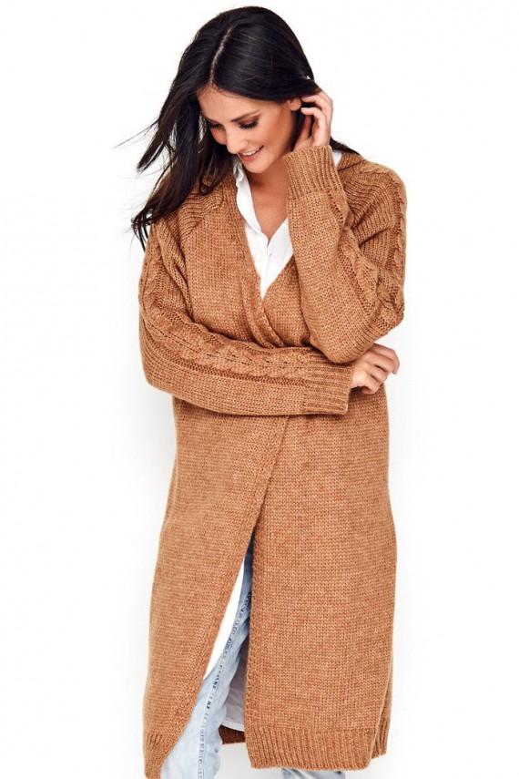Sweter kardigan camelowy...