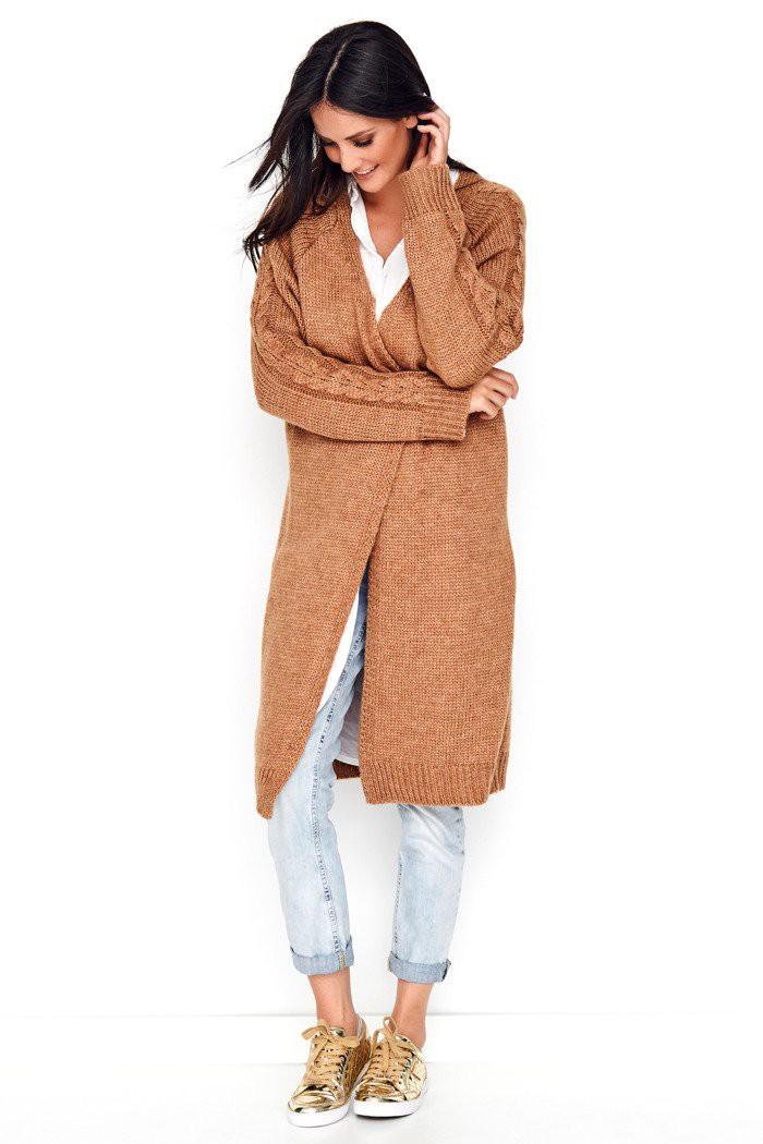 Sweter kardigan camelowy NU_S65