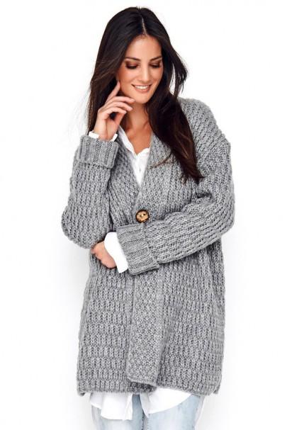 Sweter szary z guzikiem NU_S66