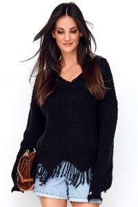 Sweter czarny z frędzlami NU_S67
