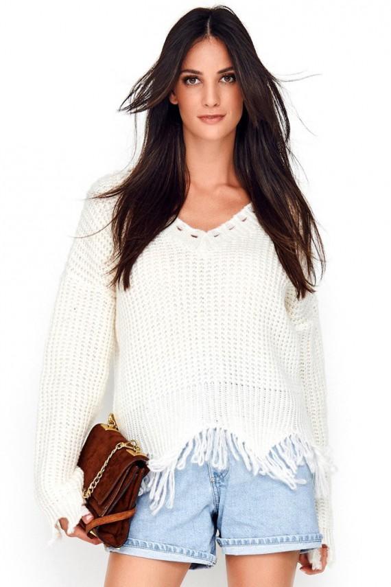 Sweter ecru z frędzlami NU_S67