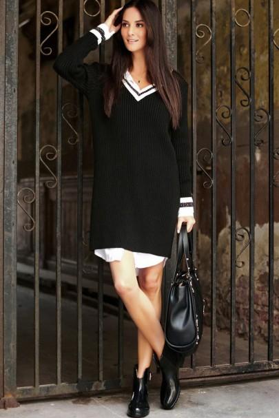Dzianinowa sukienka czarna...