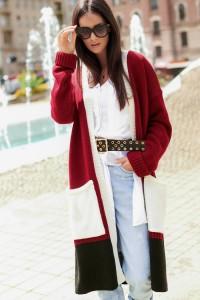 Trójkolorowy sweter kardigan NU_S70