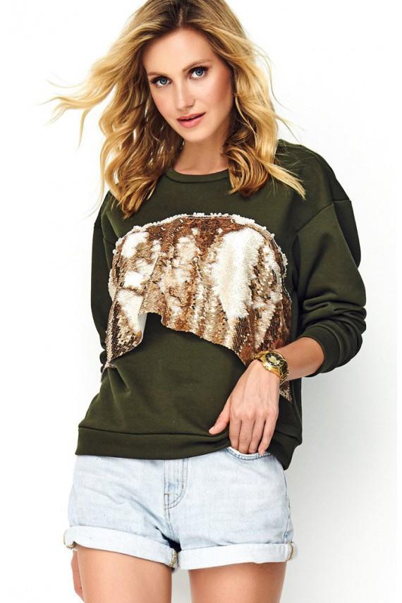 Bluza khaki z cekinami M489