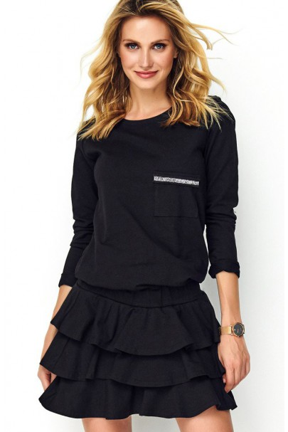 Sukienka czarna z falbanami...