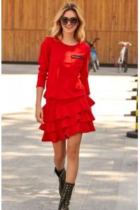 Sukienka czerwona z falbanami M492