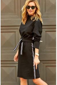 Sukienka czarna z wiązaniem M493