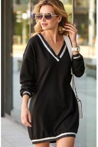 Sukienka czarna ze ściągaczami M495
