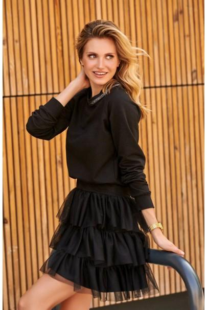 Sukienka czarna z tiulem M498