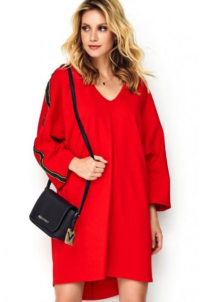 Sukienka czerwona z ozdobną...