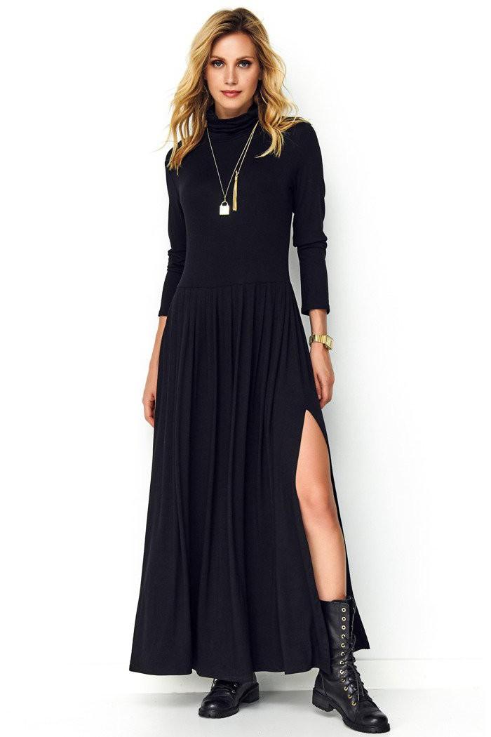 Długa sukienka czarna z golfem M503