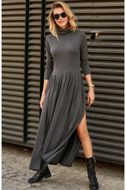 Długa sukienka grafitowa z...