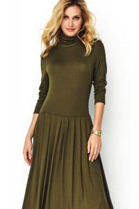 Długa sukienka khaki z golfem M503