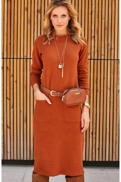 Sukienka rudy z kieszeniami...