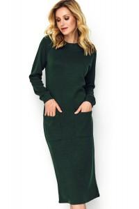 Sukienka butelkowa zieleń z kieszeniami M505