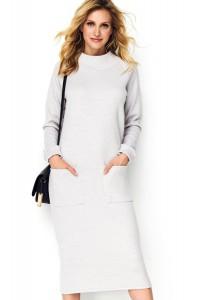 Sukienka szary melanż z kieszeniami M505