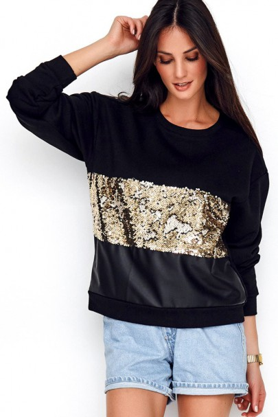 Bluza czarna z cekinami NU208