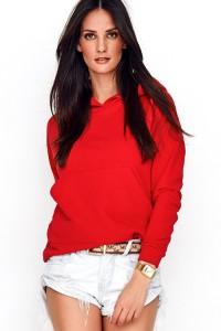 Bluza czerwona kangurka z kapturem NU209