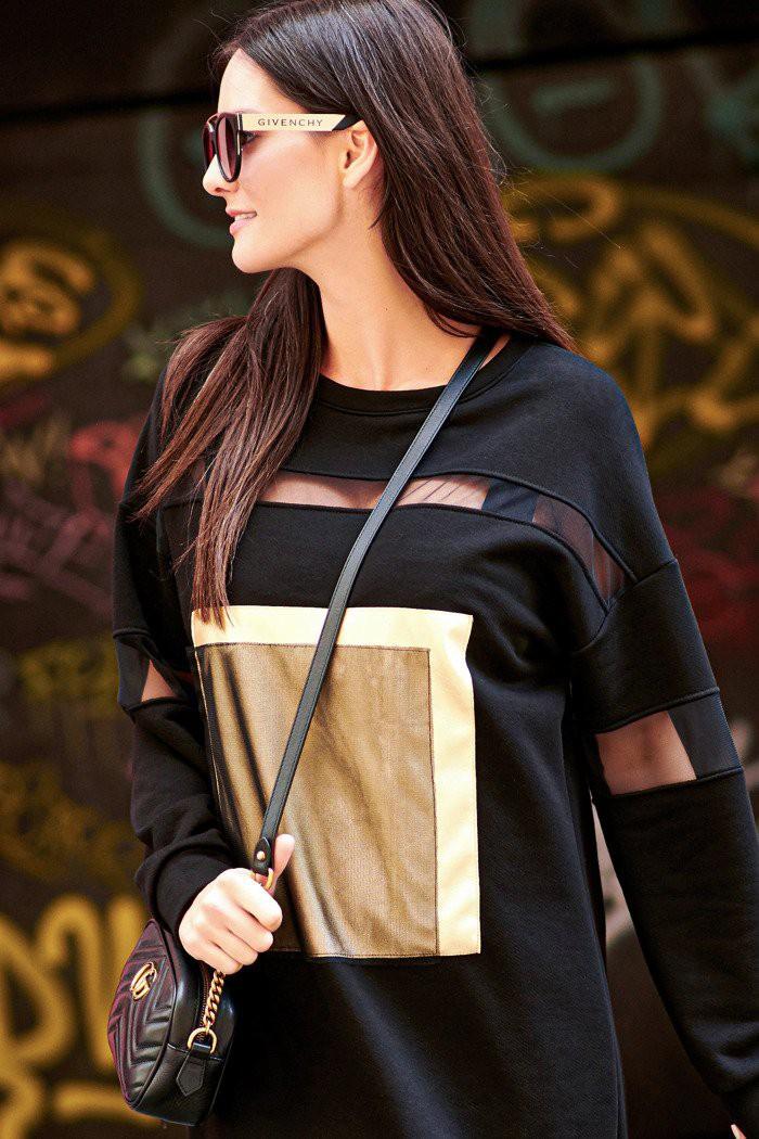 Sukienka ze złotą eko-skórą i wstawkami z tiulu czarna NU217