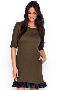 Sukienka khaki z falbanką z eko-skóry NU226