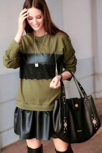 Sukienka khaki z koronką NU212