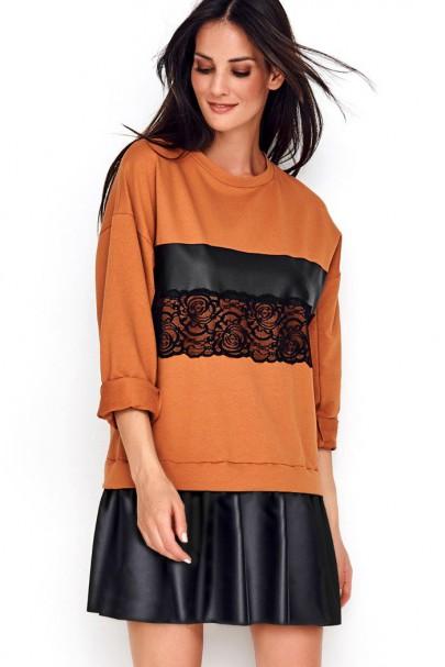 Sukienka camelowa z koronką...