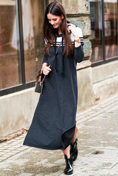 Grafitowa sukienka NU224