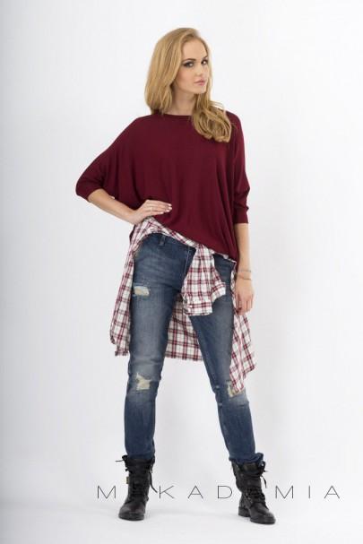 Sweter bordowy oversize M18