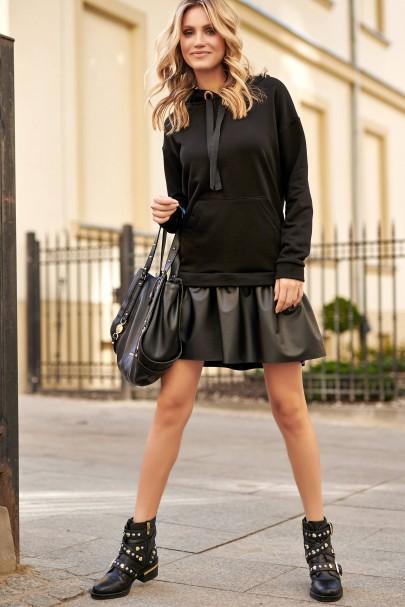 Sukienka czarna z eko-skórą...
