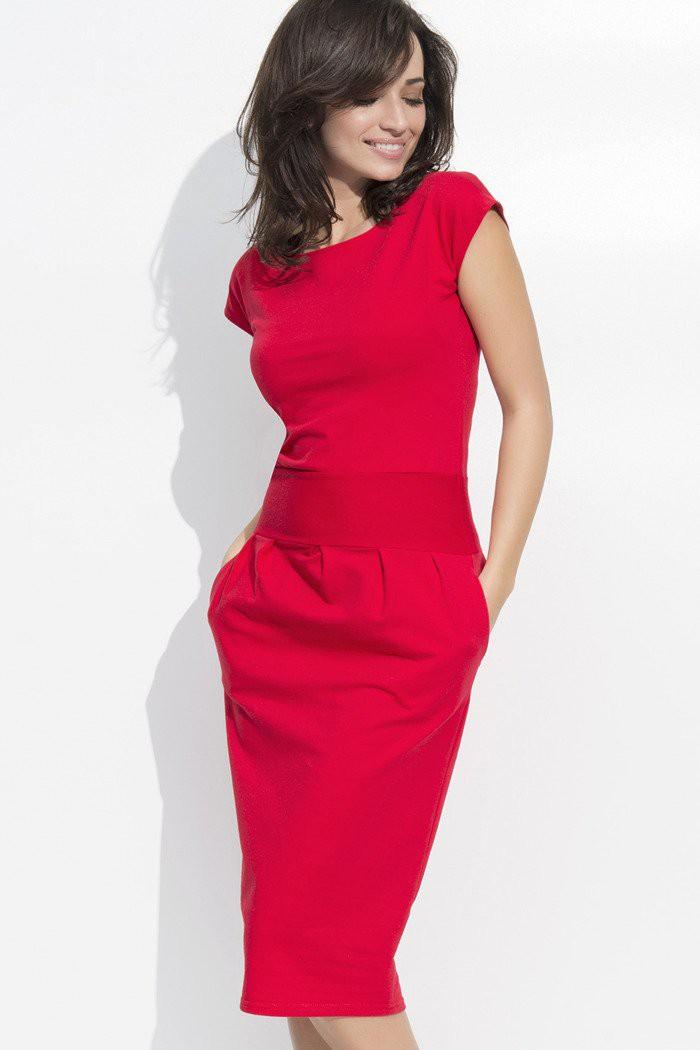 Sukienka bombka midi czerwona NU44