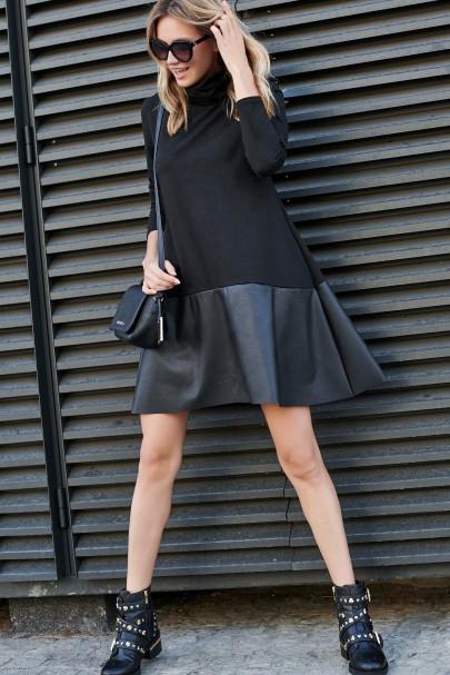 Sukienka czarna z golfem i...