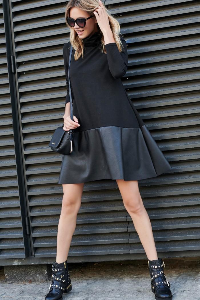 Sukienka czarna z golfem i eko-skórą M511
