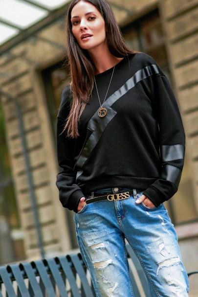 Bluza czarna z aplikacją z...