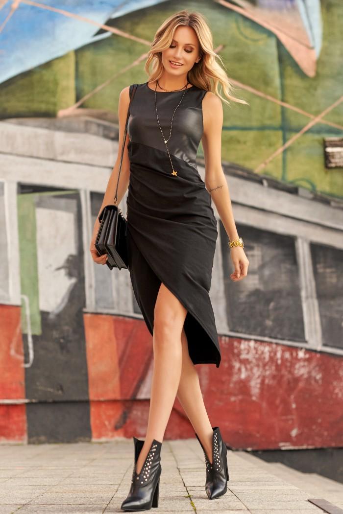 Sukienka czarna z łączonych materiałów M524