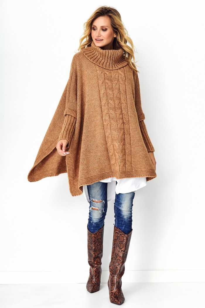 Sweter poncho camelowy S91