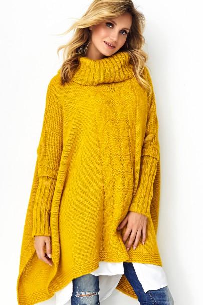 Sweter poncho musztardowy S91