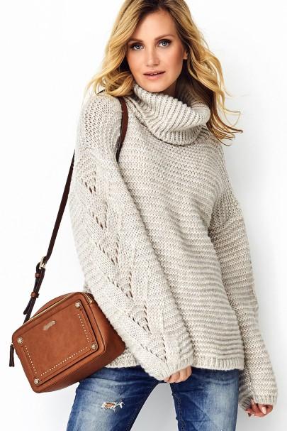 Sweter beżowy melanż z...