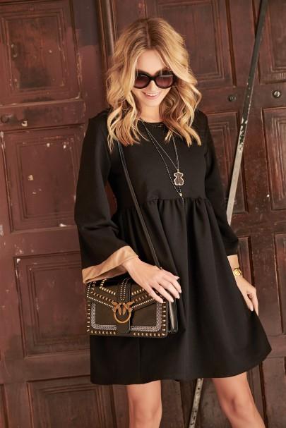 Sukienka czarna z camelową...