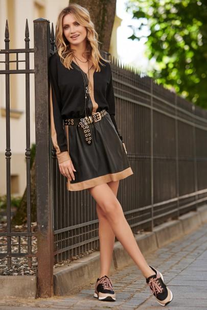Sukienka czarna z camelowym...
