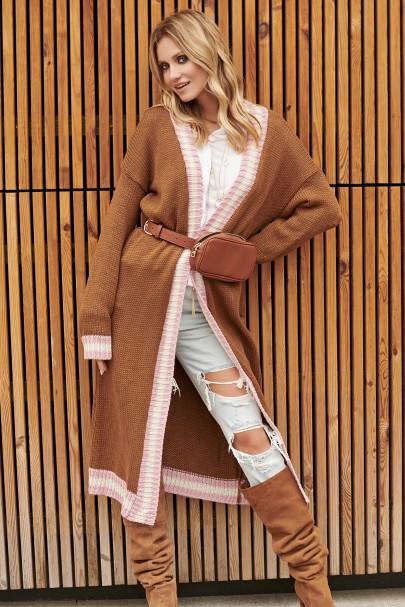 Sweter długi brązowy S89