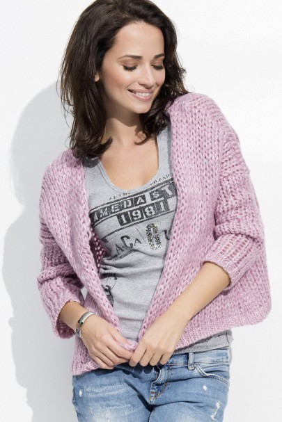 Sweter kardigan rożowy NU_S18